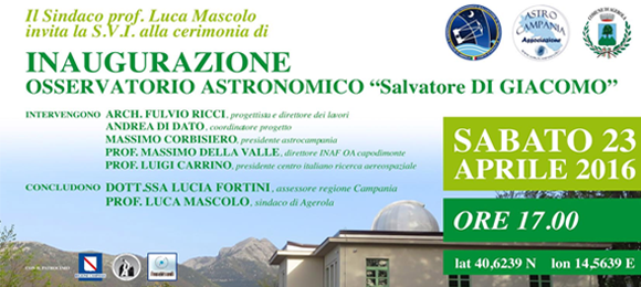 Comunicato Stampa e Invito Osservatorio Astronomico Salvatore Di Giacomo
