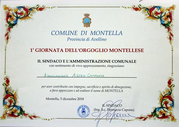 Riconoscimento ad AstroCampania sez. Montella-M.ti Picentini