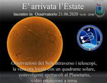 È arrivata l'estate 21 Giugno 2020 – Incontro in Osservatorio
