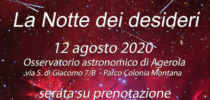 La Notte dei Dei Desideri 12/08/2020 – serata su Prenotazione in Osservatorio ad Agerola